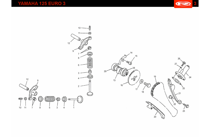 E14 EURO 3 Camshaft and Valves