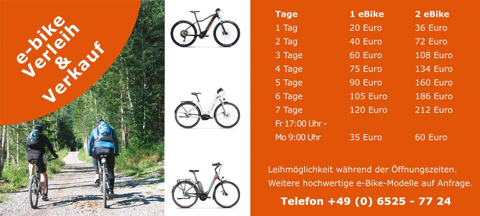 HSI Custombikes Trenoli ebike e-bike Verleih Verkauf Fahrrad Mountainbike City Trekking Eifel Camping
